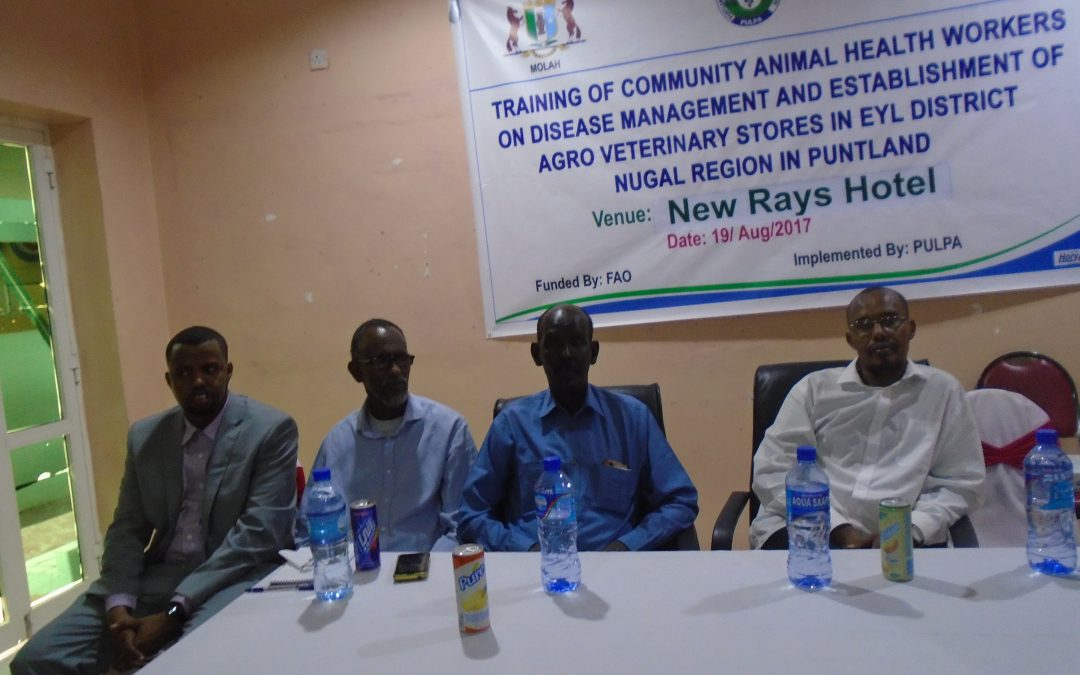 Launch for the Training of Community Animal Health Workers(CAHWS) and Establishment of Agro Vet Store in Eyl District Nugal Region of Puntland